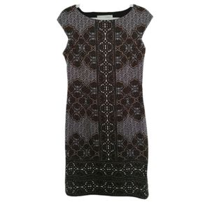 Maggy London Brown Patterned Sheath Dress 10